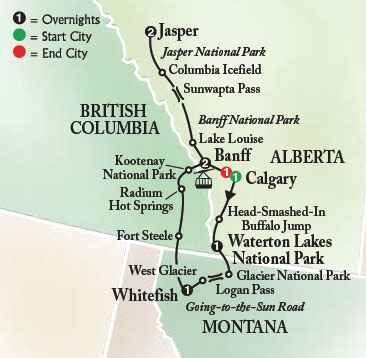 Glacier Parks On Us Map Globalinterco - Map of banff and us